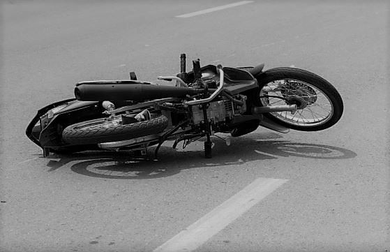crashed motorcycle on the road